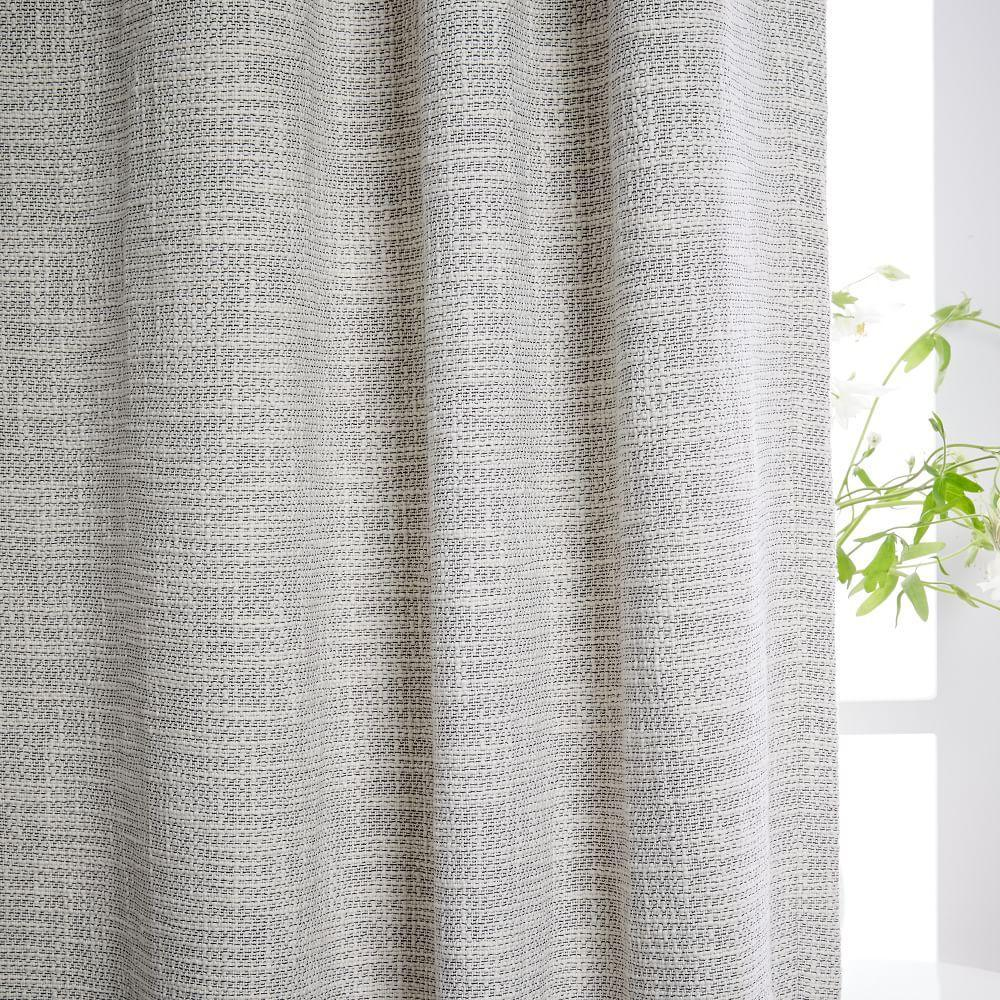 Textured Weave Curtain Blackout Lining Ivory West Elm Au