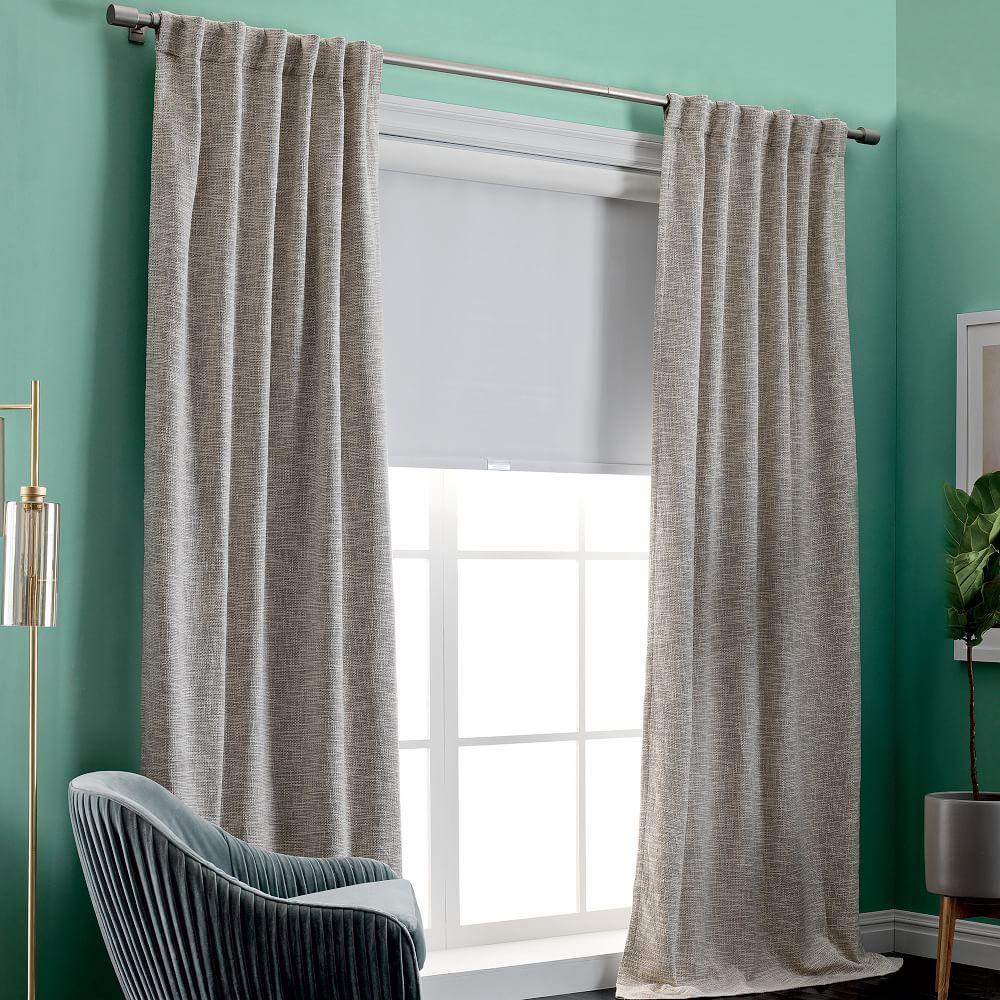 textured weave curtain blackout lining ivory west elm au