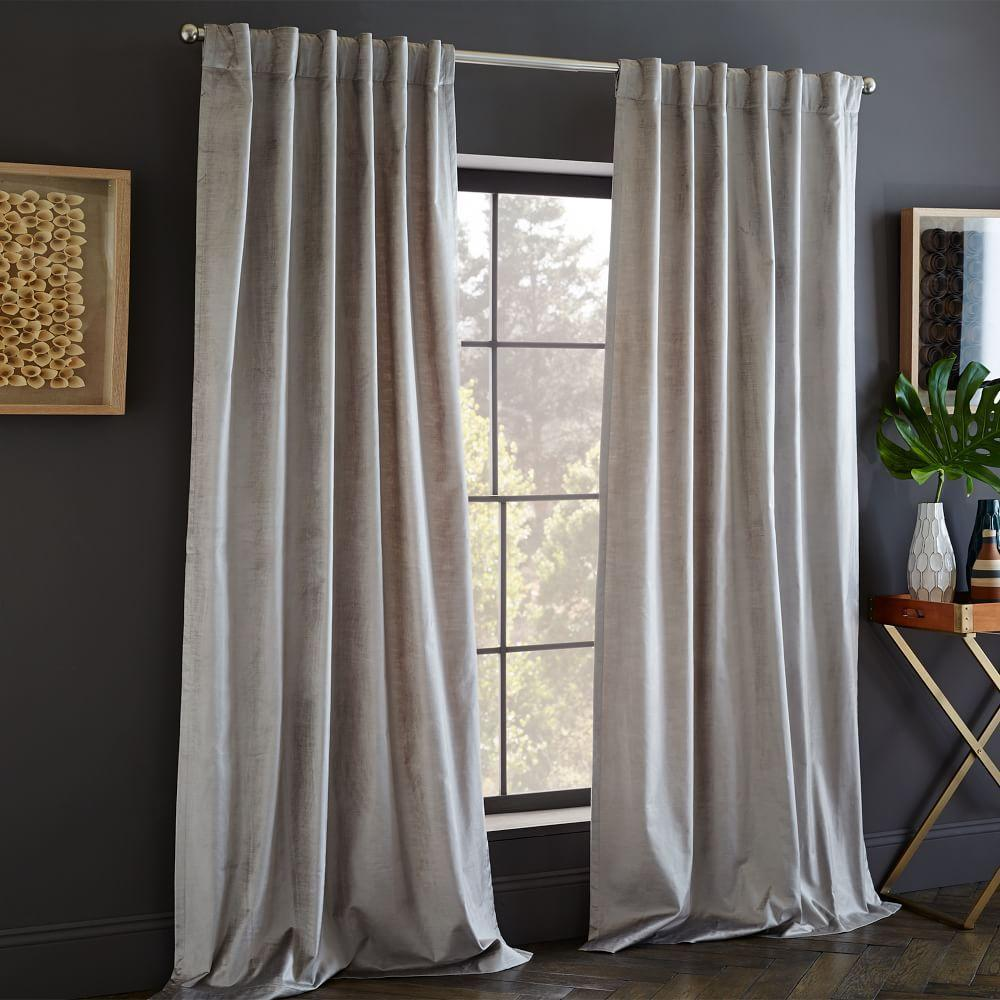 Cotton Lustre Velvet Curtain + Blackout Lining - Platinum