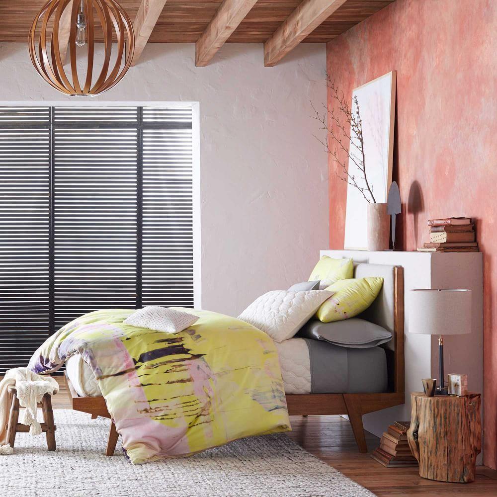 modern bed  linen weave  west elm au - modern bed  linen weave