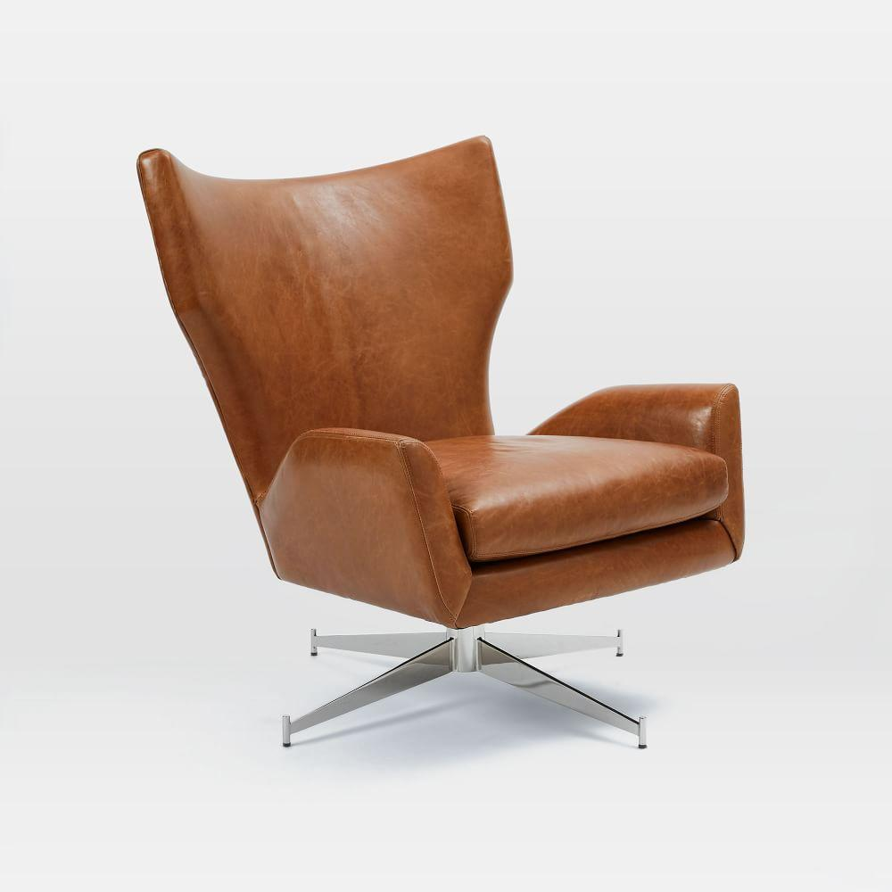 Hemming leather swivel armchair saddle west elm au for Furniture armchairs