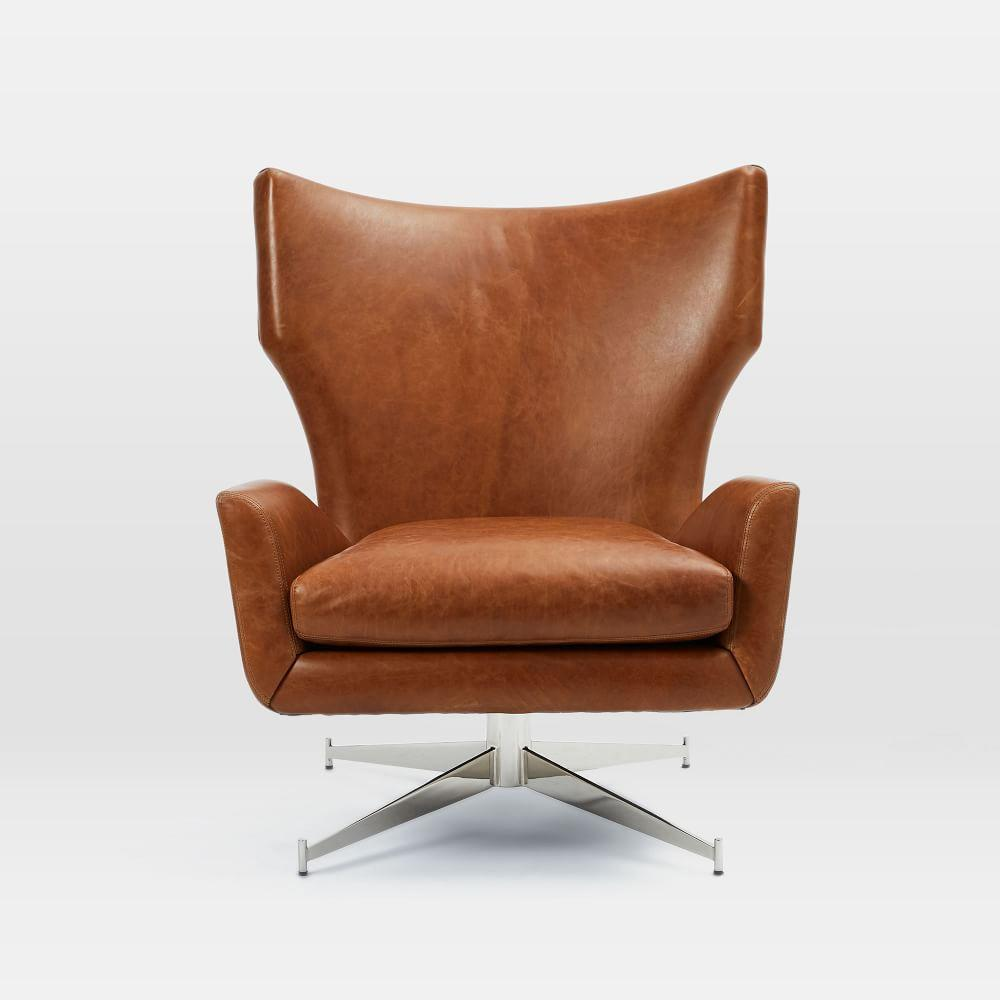 Hemming Leather Swivel Armchair