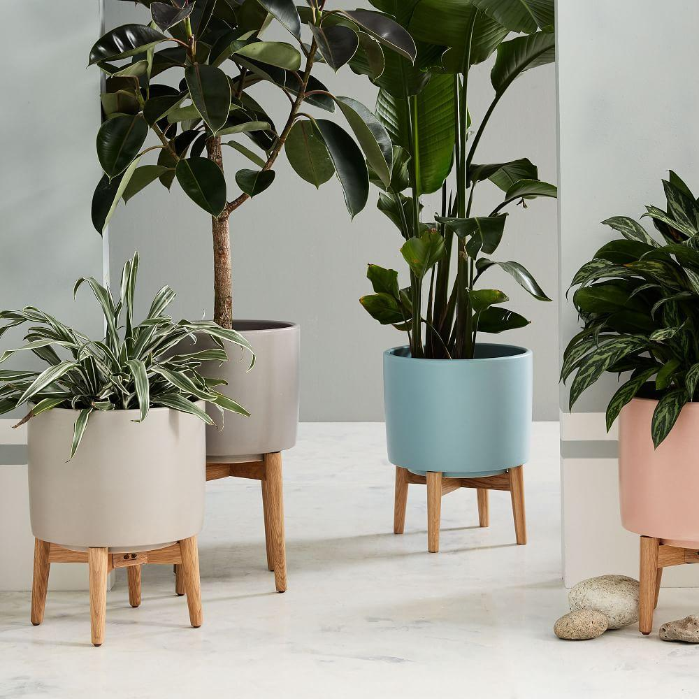 Mid Century Turned Leg Standing Planters Matte West