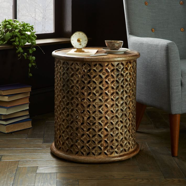 Carved wood side table west elm au Side and coffee tables