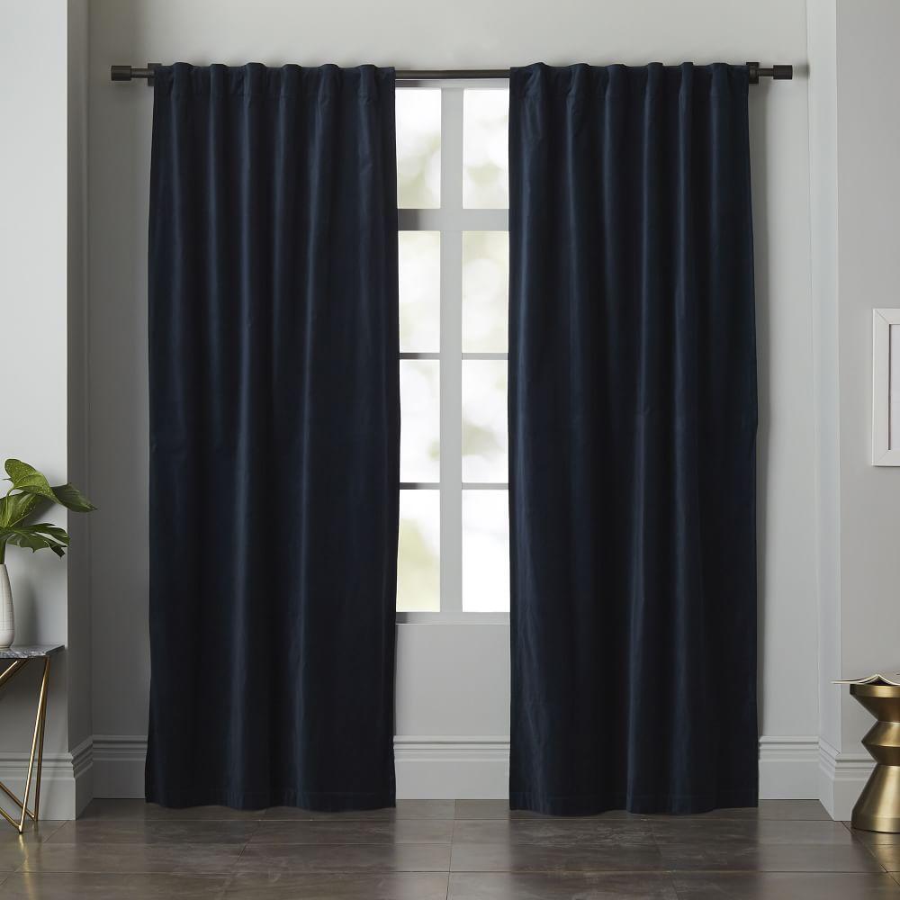 Velvet Pole Pocket Curtain Blackout Lining Regal Blue
