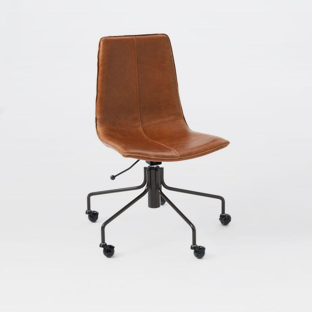 Slope leather office chair west elm au for Office leather chair