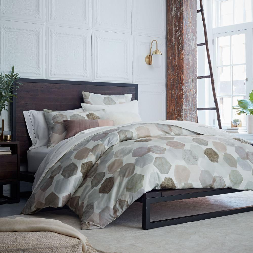 Organic Geo Sateen Quilt Cover + Pillowcases | west elm AU : sateen quilt - Adamdwight.com