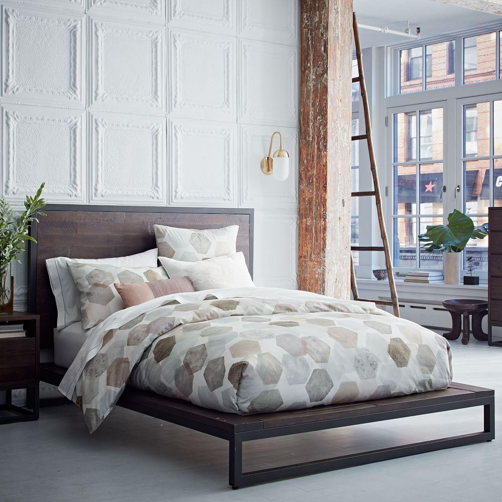 West Elm: Logan Industrial Platform Bed - Smoked Brown