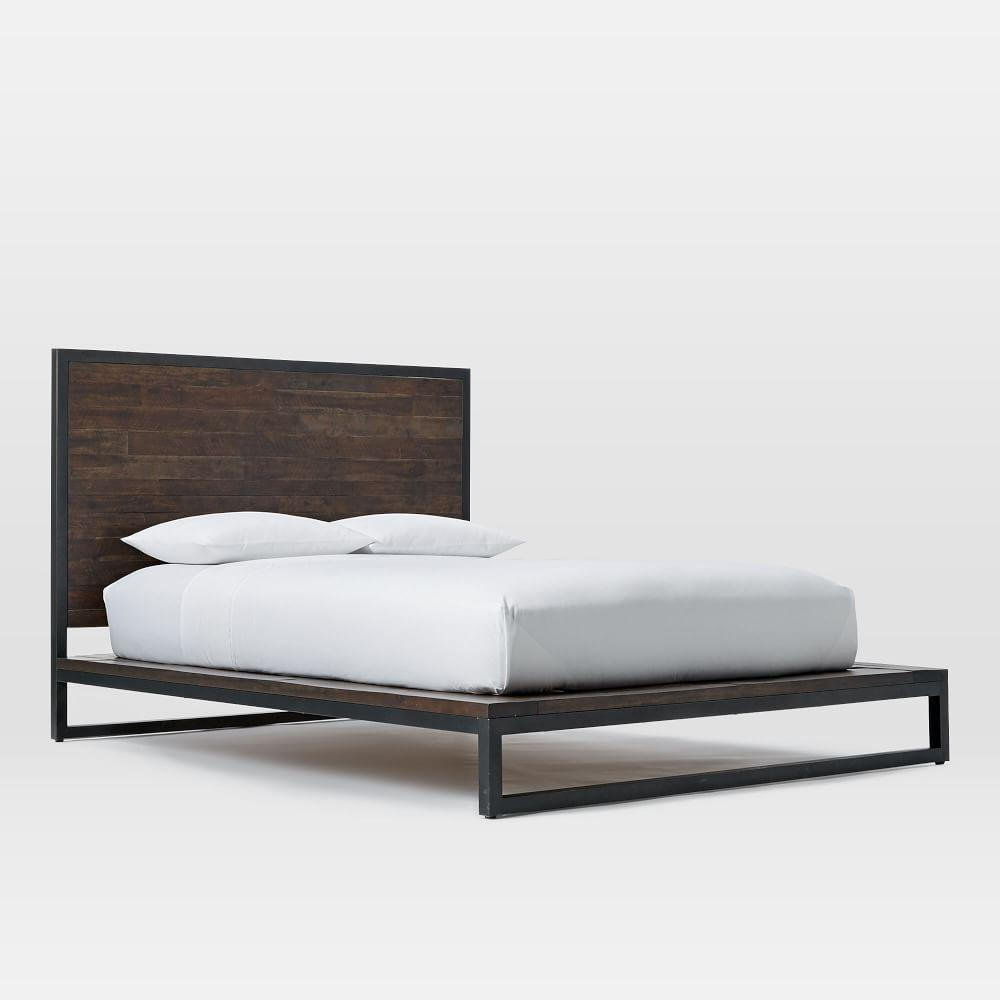 Logan Industrial Platform Bed Smoked Brown West Elm AU