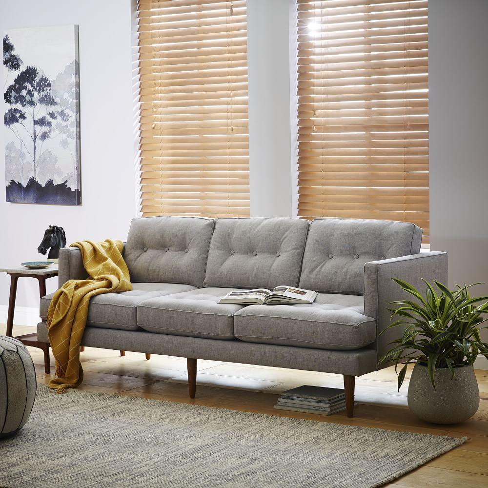 West Elm: Peggy Mid-Century Sofa - Feather Grey (202 Cm)