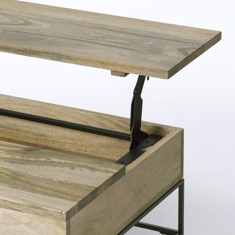 Harrison Industrial Coffee Table: Industrial Storage Coffee Table