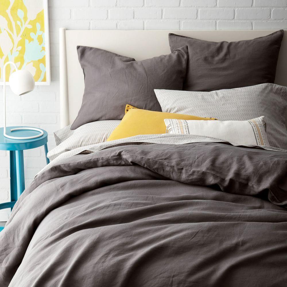 Belgian Flax Linen Quilt Cover + Pillowcases - Slate