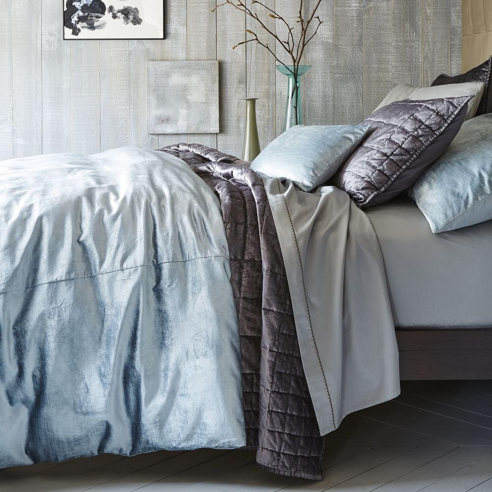 Washed Cotton Lustre Velvet Quilt Cover + Pillowcases - Dusty Blue