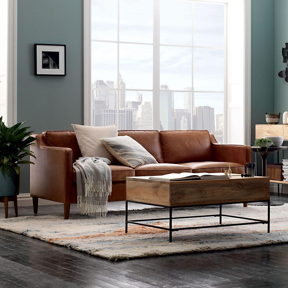 Hamilton 3 Seater Leather Sofa 206 Cm West Elm Australia