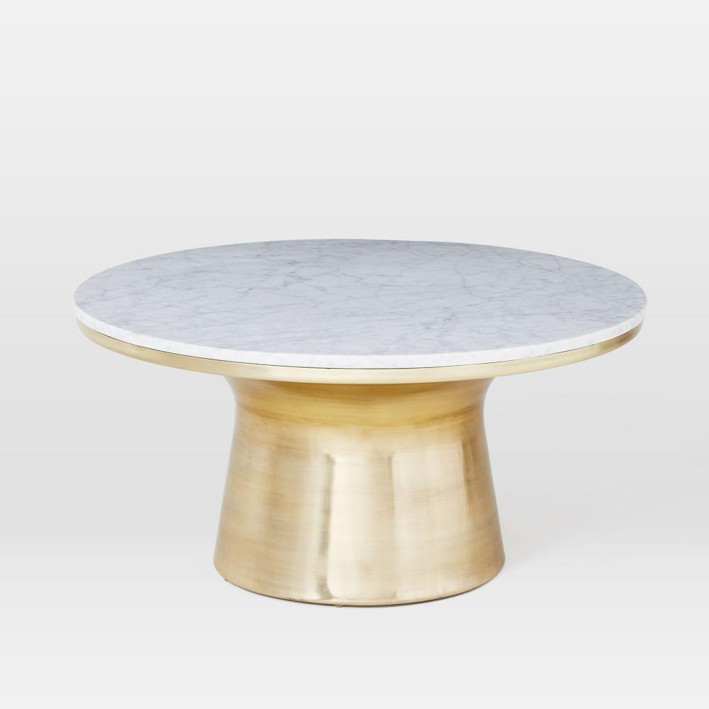 Marble topped pedestal coffee table west elm au for Stone topped coffee tables