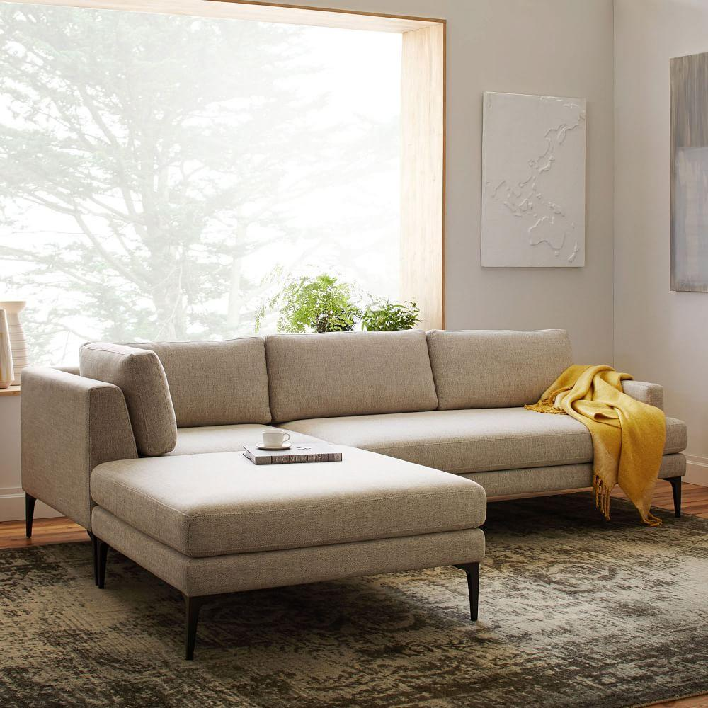 Andes 3-Piece Chaise Sectional - Stone (Twill)