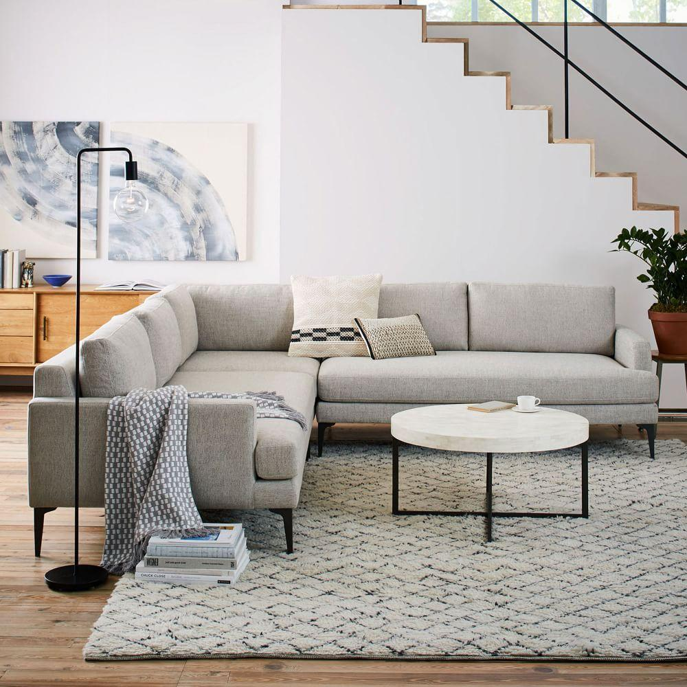 Andes L Shaped Sectional Stone Twill West Elm Australia