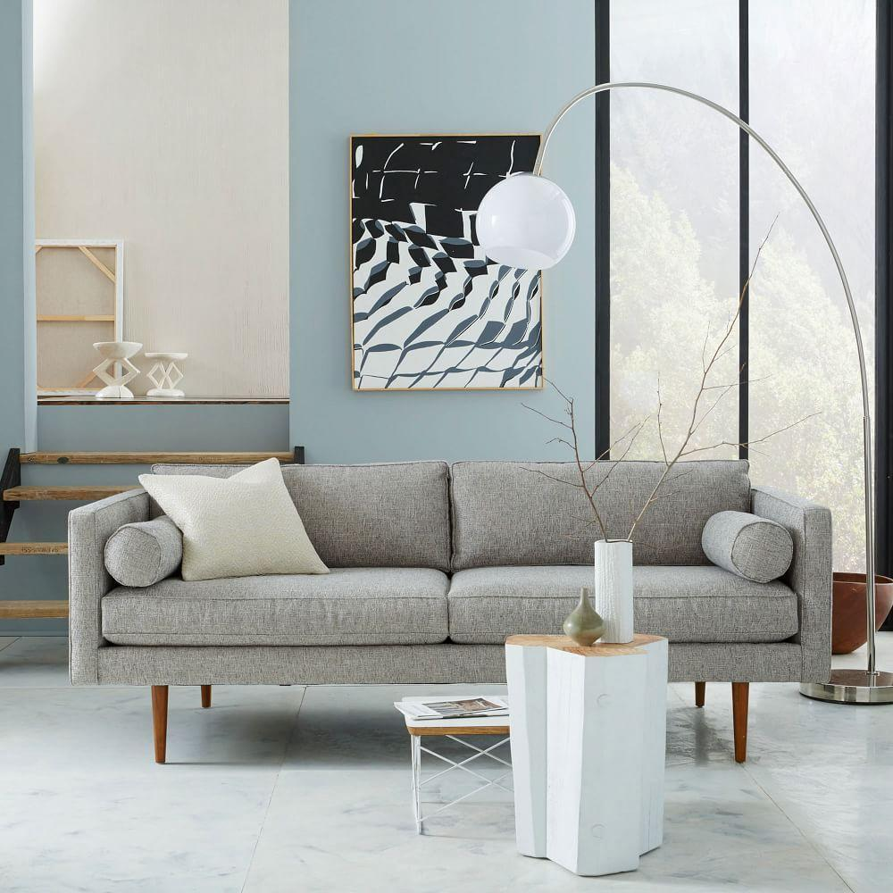 Monroe Mid Century Sofa 203 Cm Feather Grey Heathered