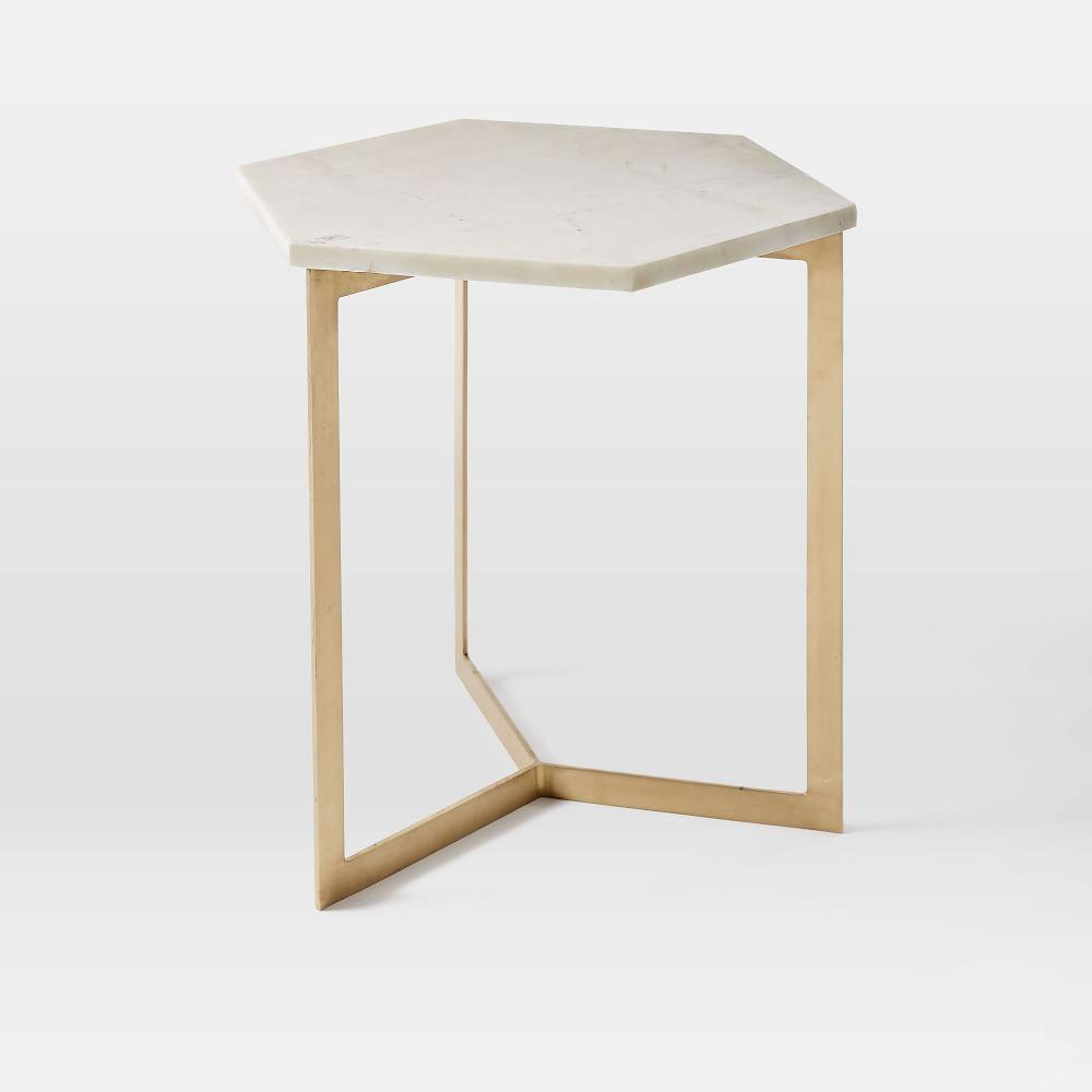 Hex Side Table Antique Brass West Elm Au