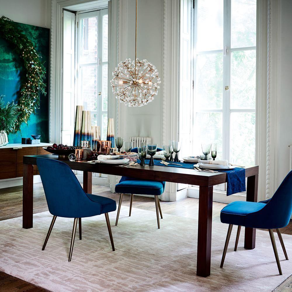 Mid century upholstered dining chair velvet west elm au for Modern upholstered dining room chairs