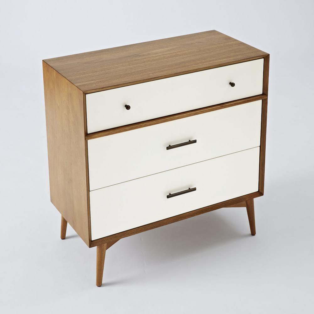 mid century 3 drawer dresser white acorn west elm australia. Black Bedroom Furniture Sets. Home Design Ideas