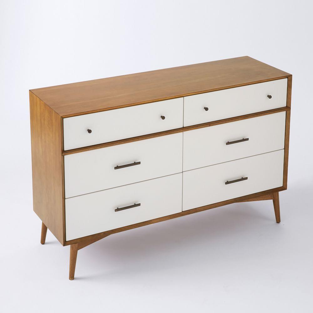 mid century 6 drawer dresser white acorn west elm au. Black Bedroom Furniture Sets. Home Design Ideas
