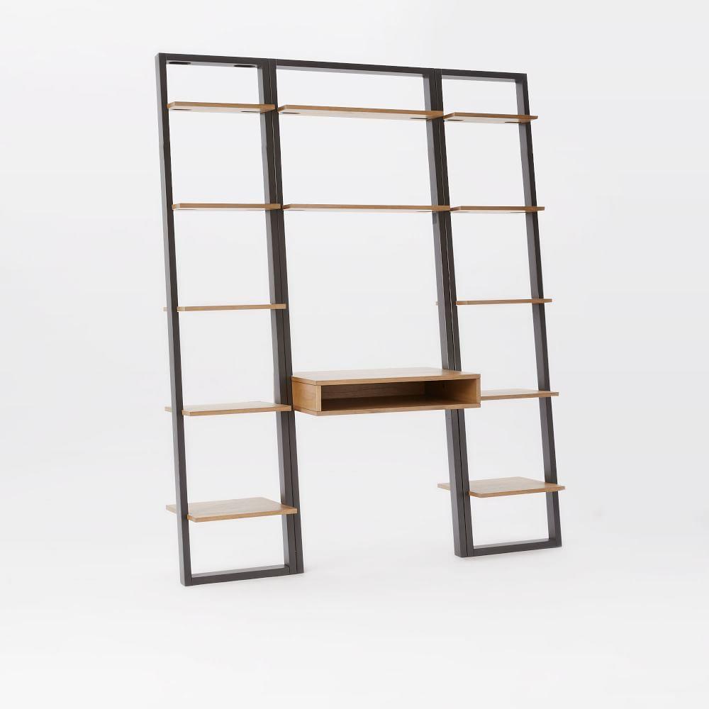 Ladder Shelf Desk Narrow Bookshelf Set