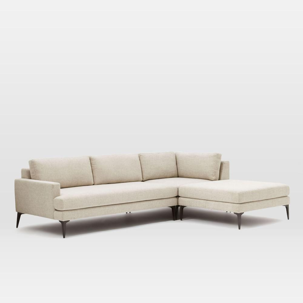 Andes 3 piece chaise sectional stone twill west elm au for 3 piece leather sectional sofa with chaise