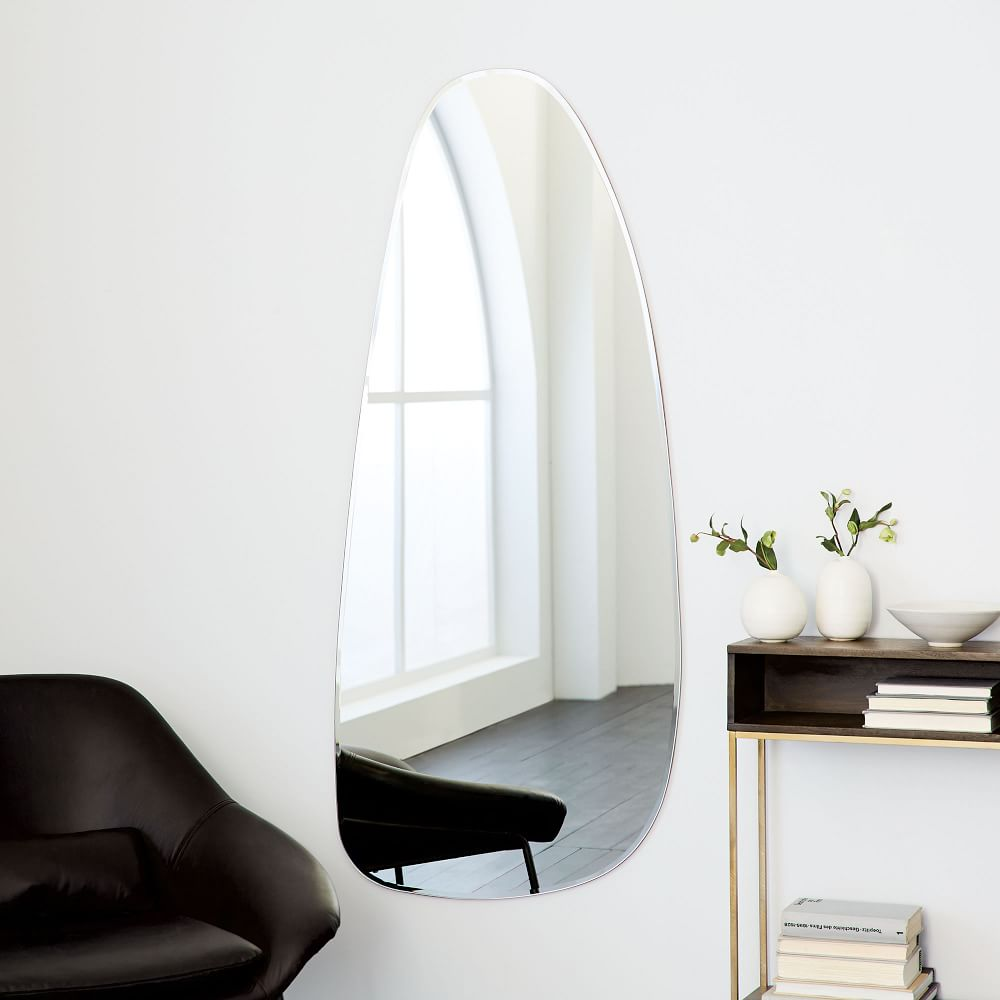 Frameless asymmetrical floor mirror west elm au for Bathroom floor mirror