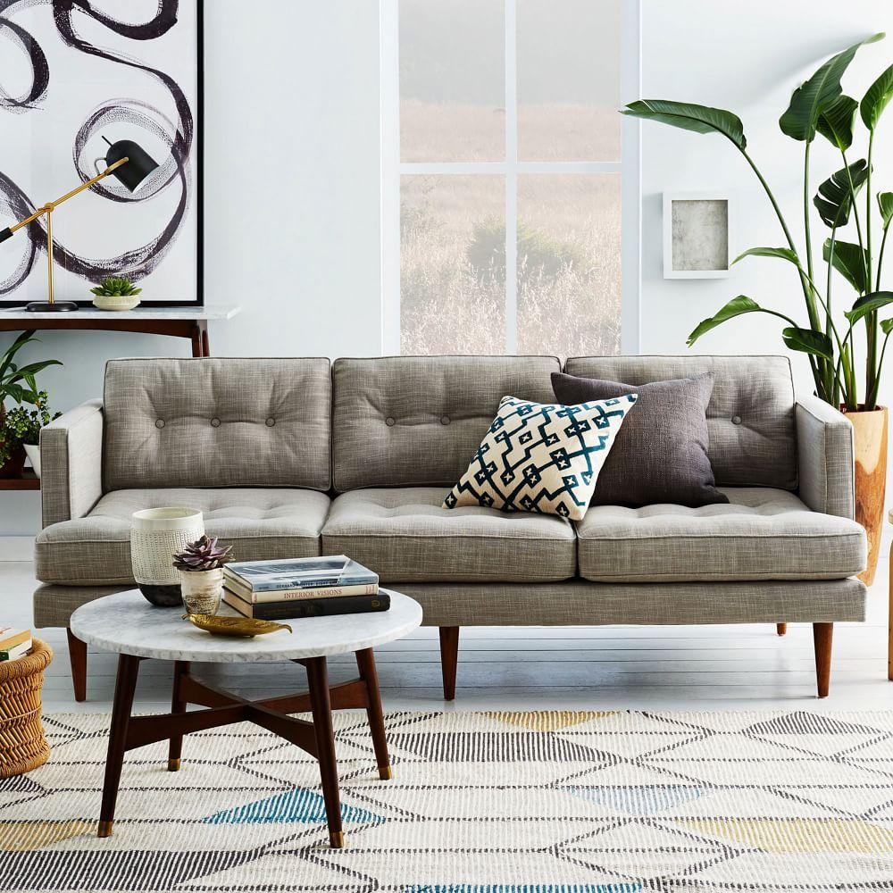 Peggy mid century sofa feather grey 202 cm west elm au for West elm peggy sectional sofa