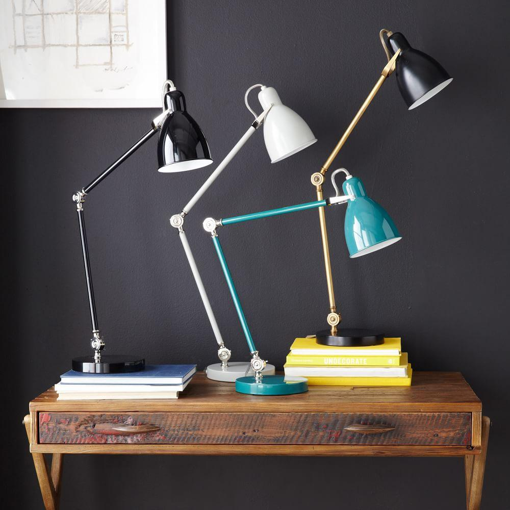 West Elm Lamps: Industrial Task Table Lamp - Black + Antique Brass