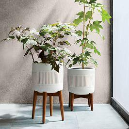 Mid-Century Turned Wood Leg Planters - Patterned
