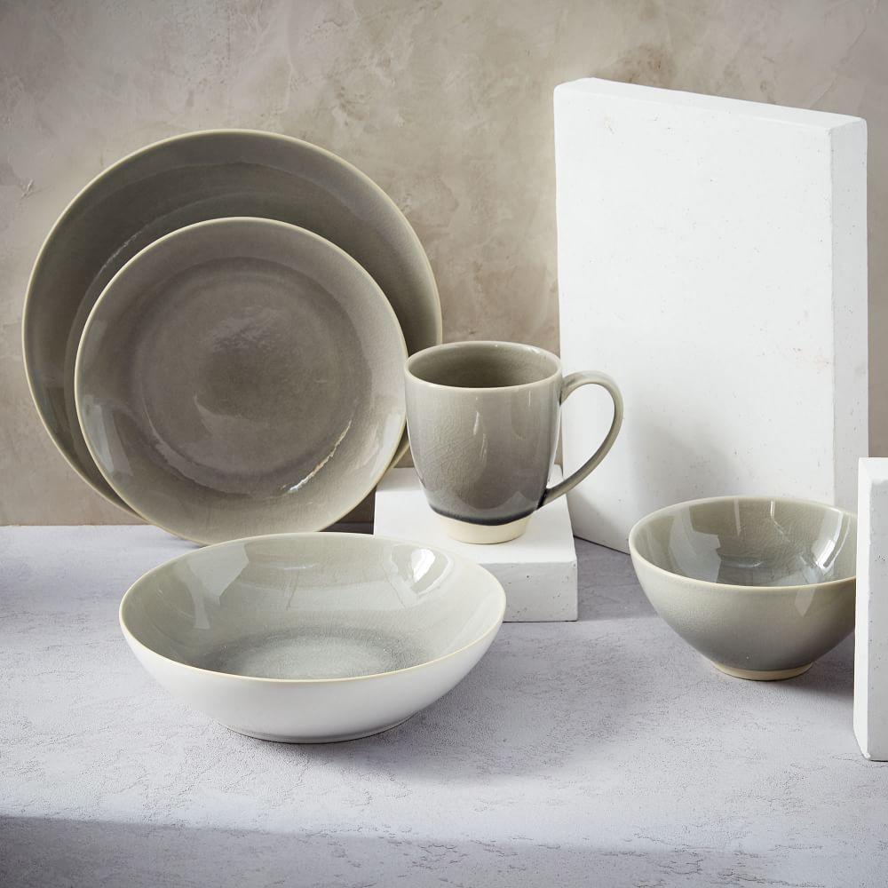 Alta Crackle Glaze Dinnerware Light Grey West Elm