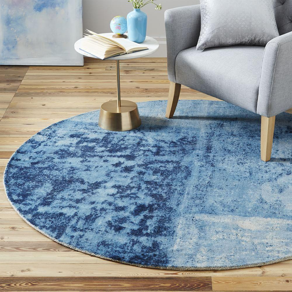 Distressed Rococo Round Wool Rug Blue Lagoon West Elm