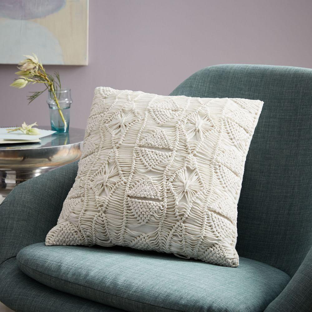 Macrame Diamond Cushion Cover Stone White West Elm Au