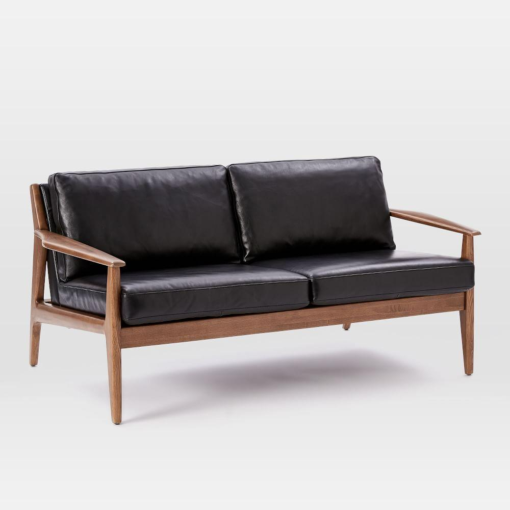 Wooden Couch Frames ~ Mathias mid century wood frame leather loveseat cm