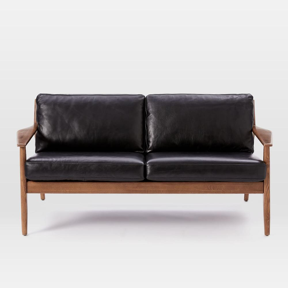 Mathias Mid Century Wood Frame Leather Loveseat 168 Cm
