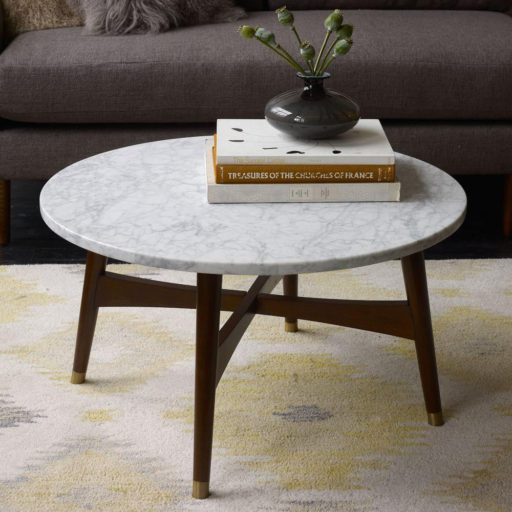 Reeve mid century coffee table marble walnut west elm au Round marble coffee tables