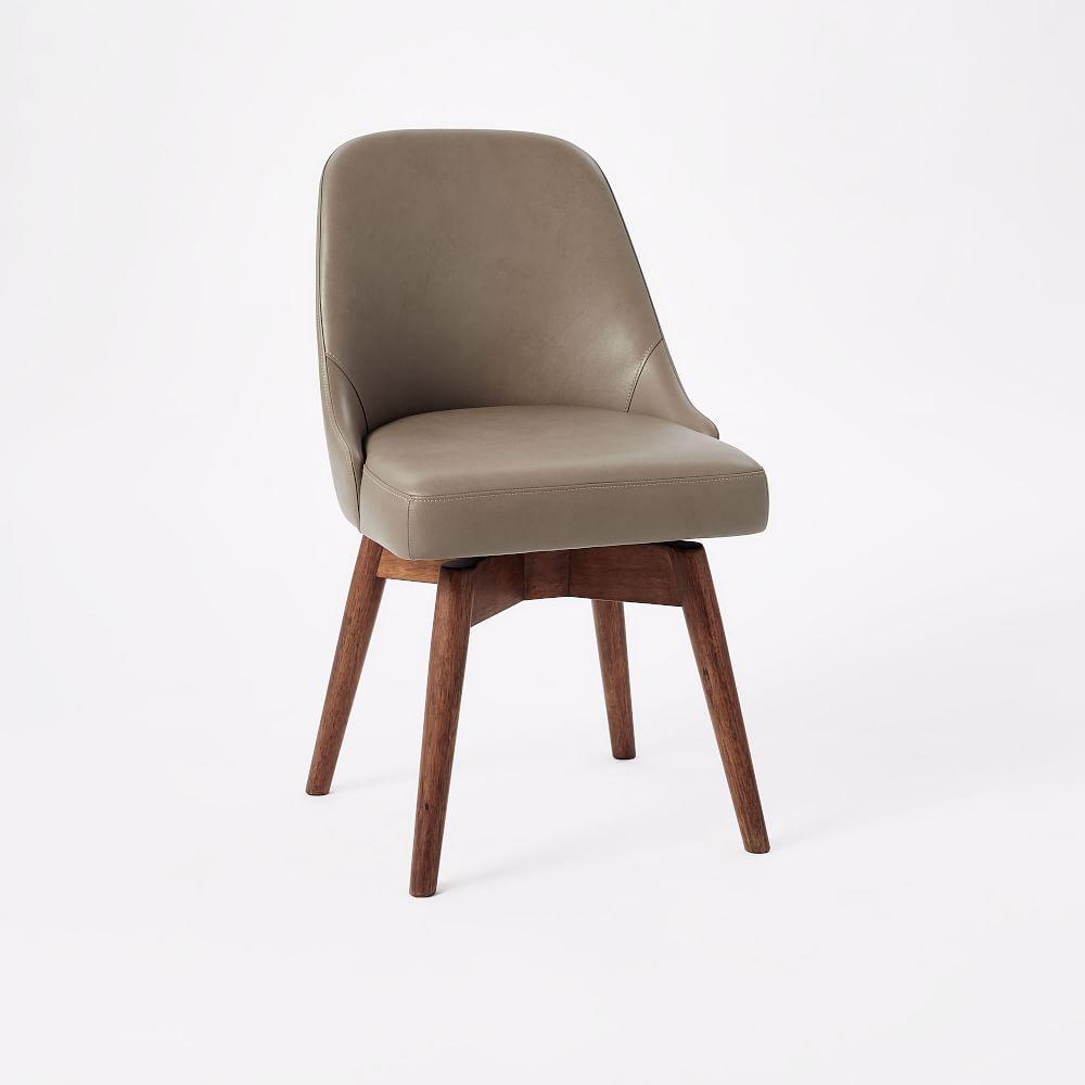 Mid Century Leather Swivel Office Chair West Elm Au