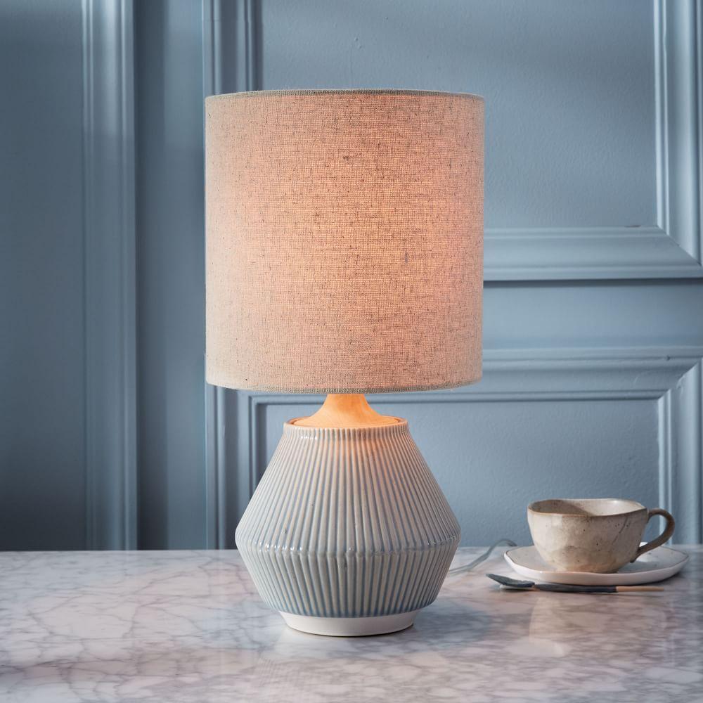 Roar rabbit ripple ceramic table lamp small narrow cool grey
