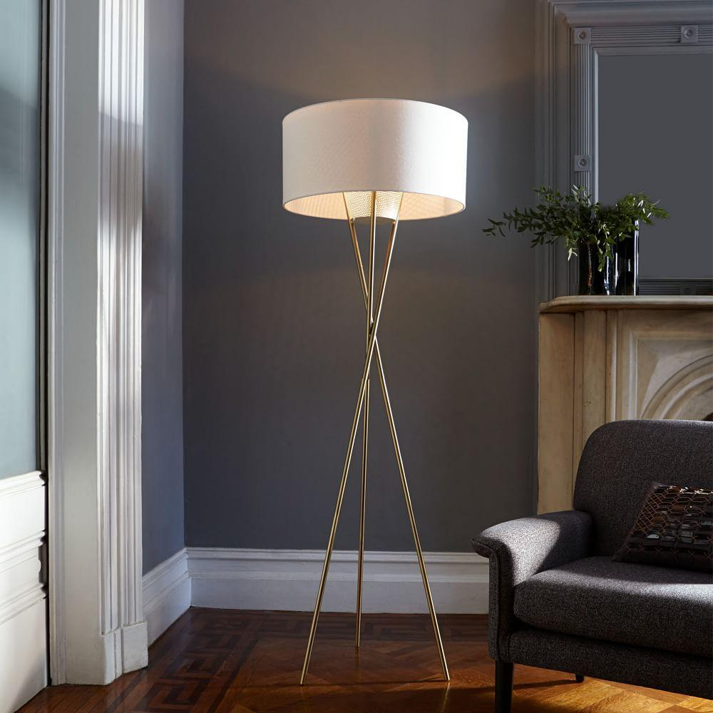 Mid Century Tripod Floor Lamp Antique Brass West Elm