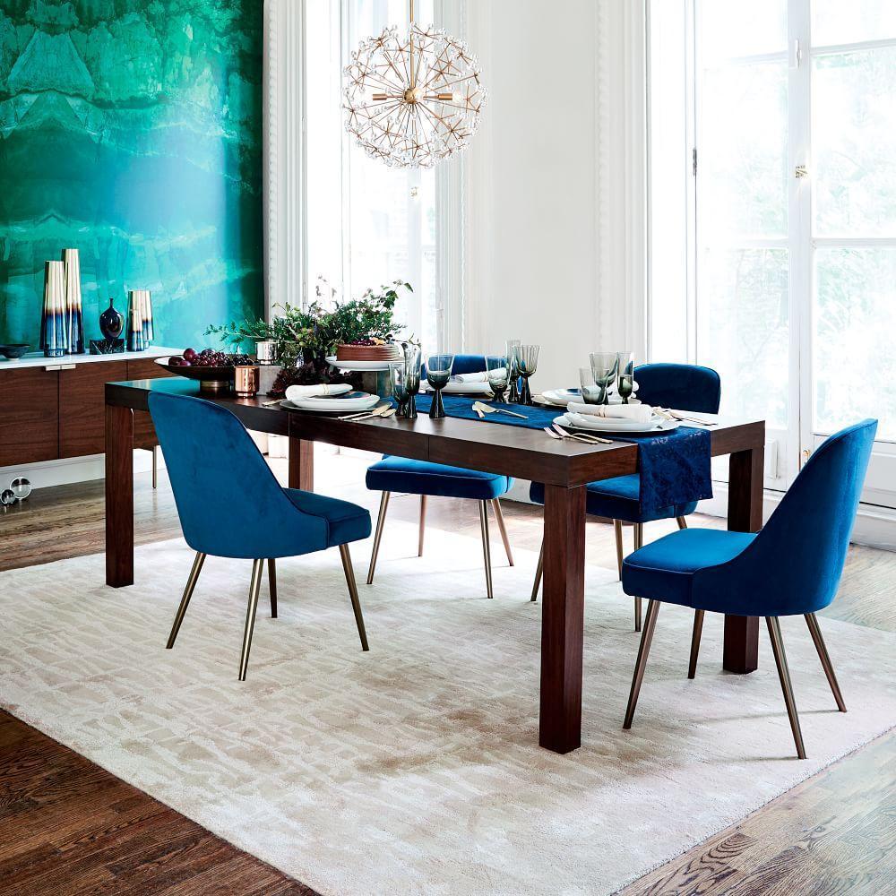 Mid century upholstered dining chair velvet