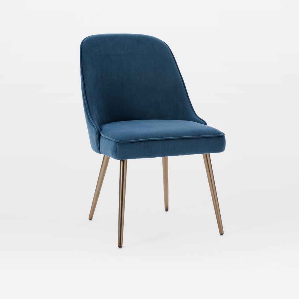 MidCentury Upholstered Dining Chair Velvet West Elm AU - Upholstered dining chairs uk