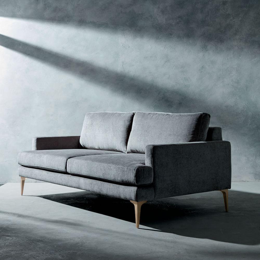Andes Sofa (194 cm) - Metal (Worn Velvet) | west elm Australia