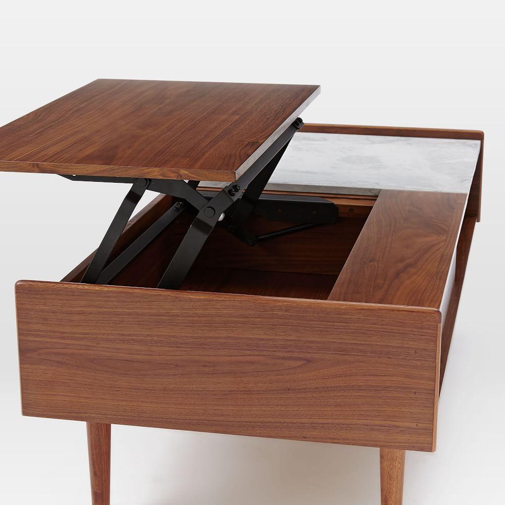 Hopper Storage Coffee Table: Mid-Century Pop-Up Storage Coffee Table