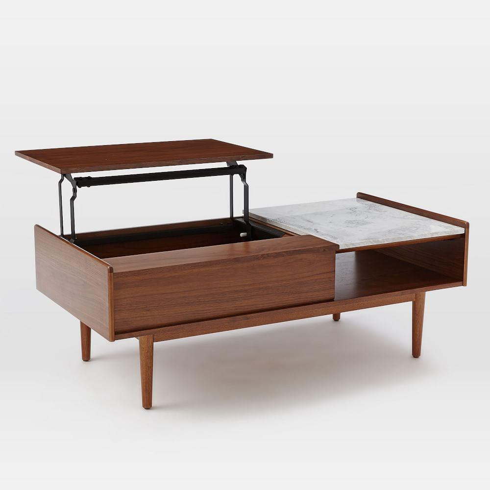Mid-Century Pop-Up Storage Coffee Table