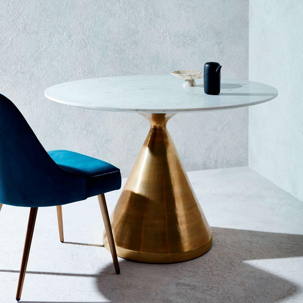 silhouette pedestal dining table round white marble west elm australia. Black Bedroom Furniture Sets. Home Design Ideas