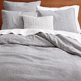 Belgian Flax Linen Melange Quilt Cover + Pillowcases – Slate
