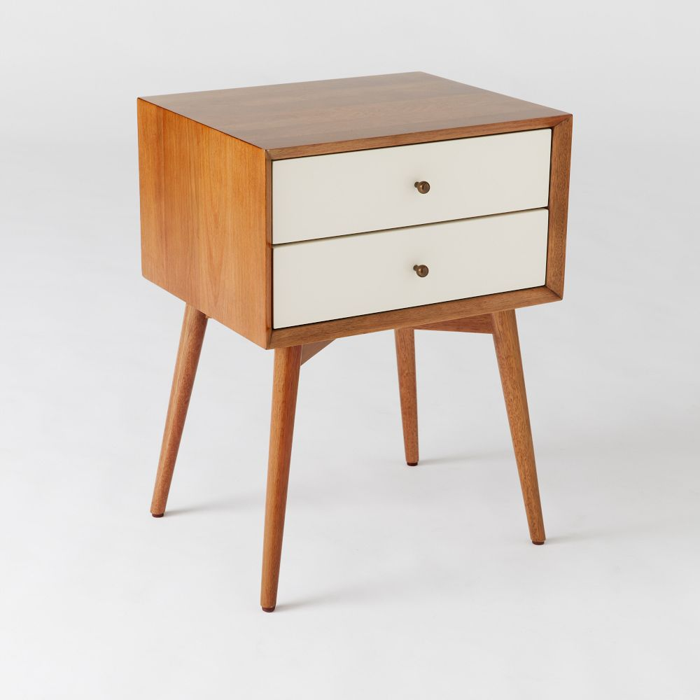 Mid century bedside table white acorn west elm au for White wood nightstand