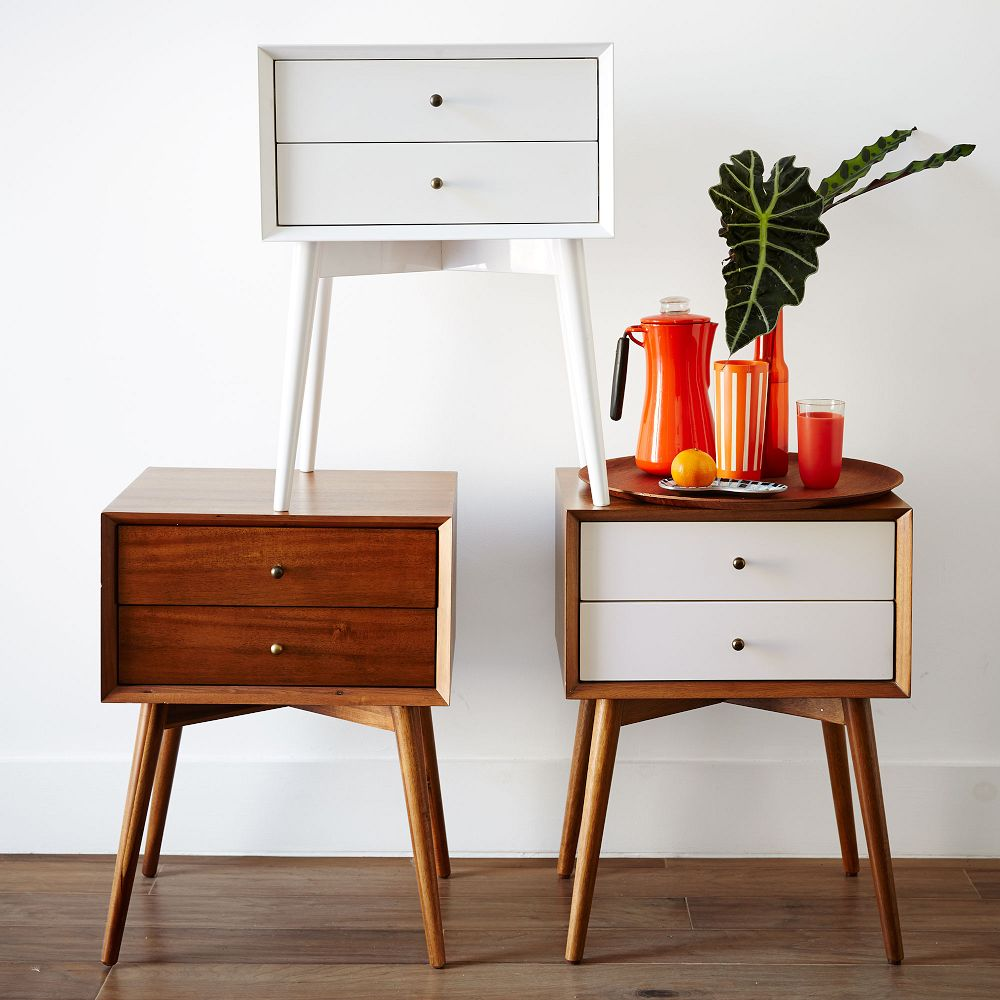 mid century bedside table white acorn west elm au